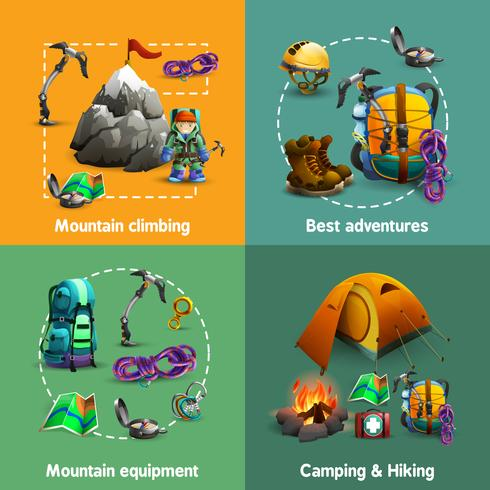 Climbing 4 3d icons square  banner vector