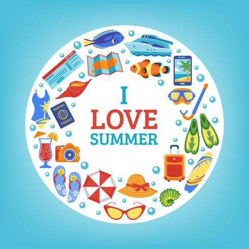 Summer vacation concept circle composition poster vector