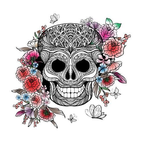 Cráneo y flores