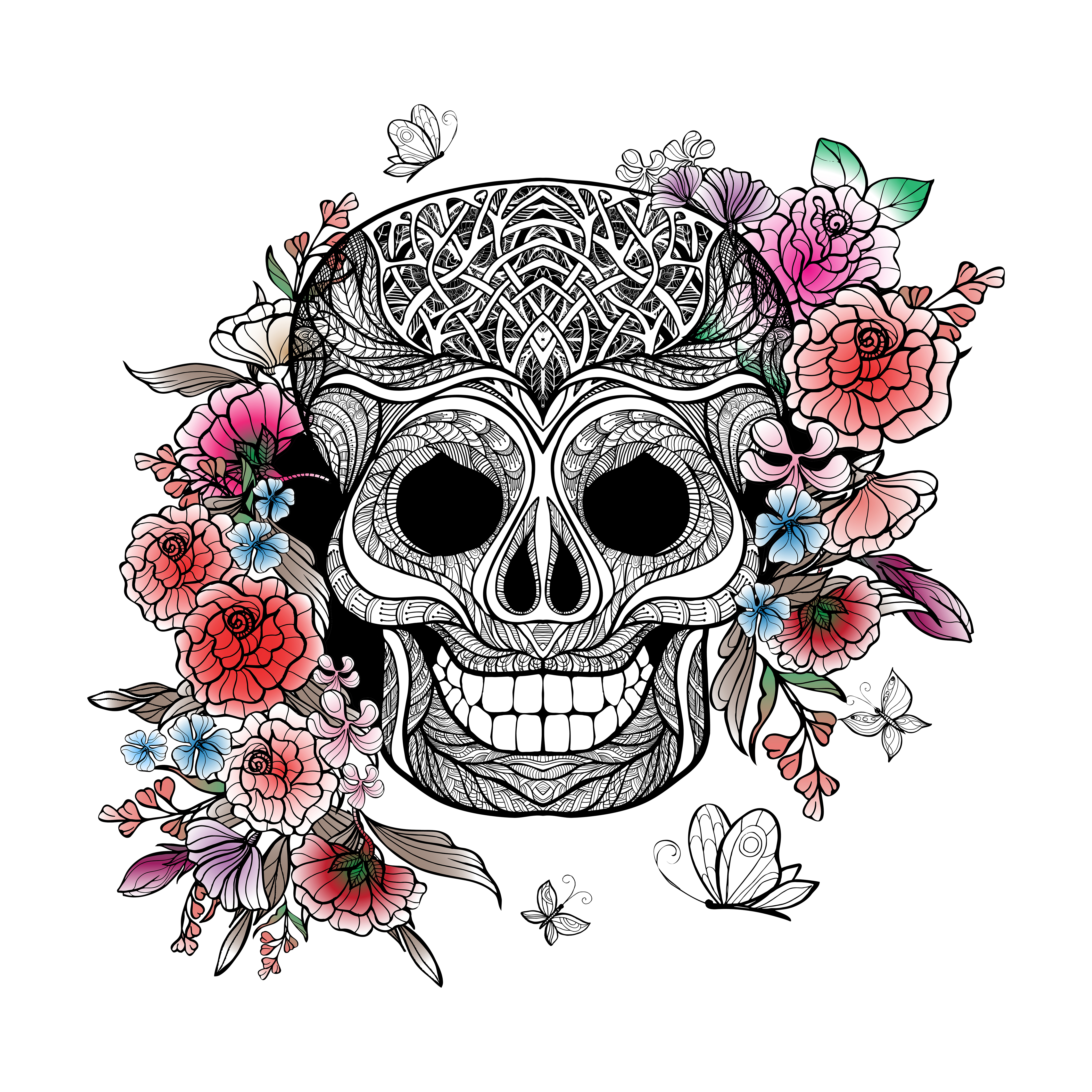 Skull And Flowers - Download Free Vectors, Clipart ...
