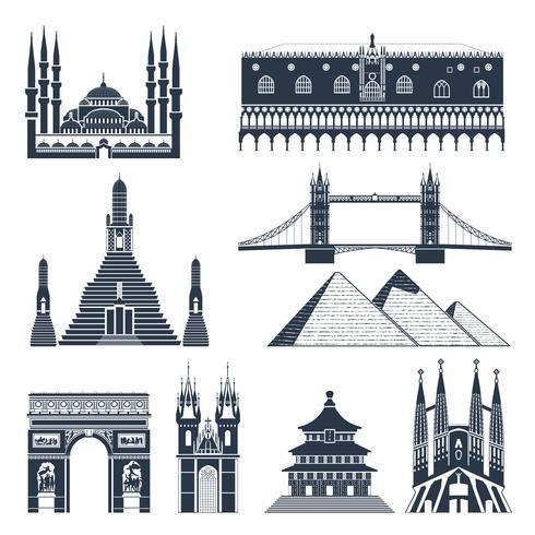 Landmärken och monument Svart uppsättning