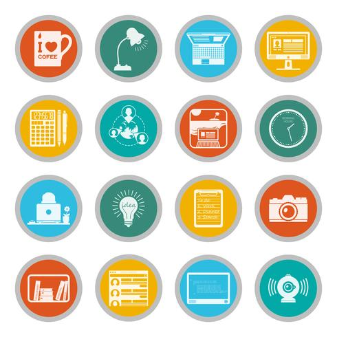 Freelance icons flat set
