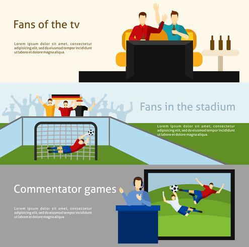 Conjunto de banners planos de 2 aficionados de fútbol