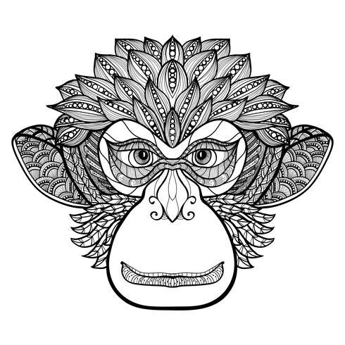 Monkey Doodle Face vector