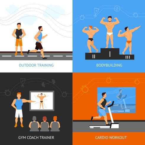 Conjunto de conceito de Design de treinador