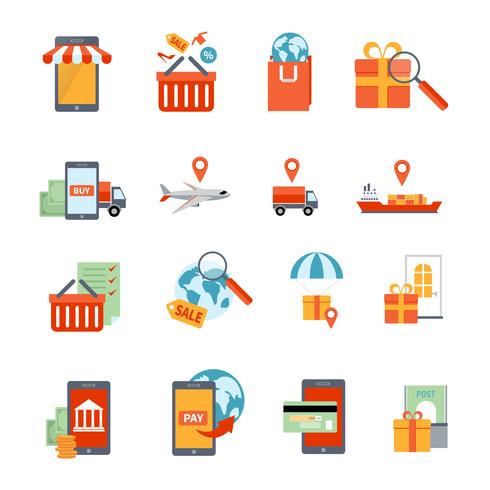Set di icone di m-commerce
