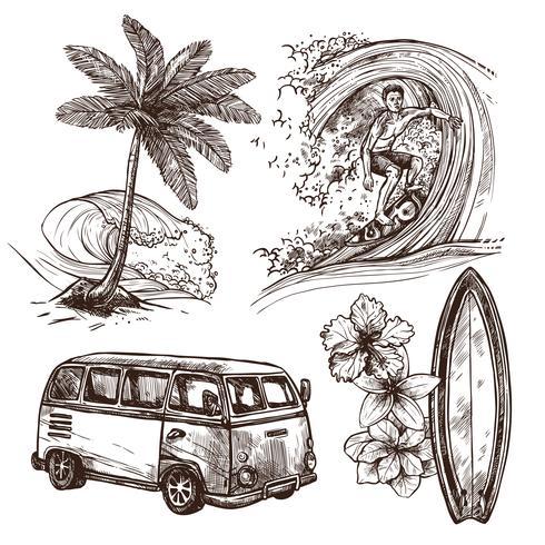Conjunto de iconos de dibujo de surf vector