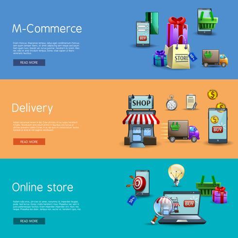 Online shopping banners set vektor