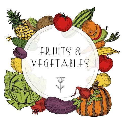 Telaio di frutta e verdura di cibo sano vettore