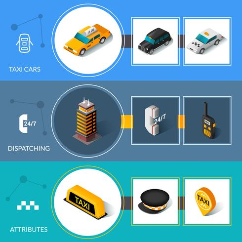 Taxi isometric flat informative banners set