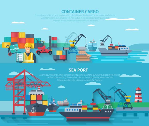 Sea Port Horizontal Banner Set