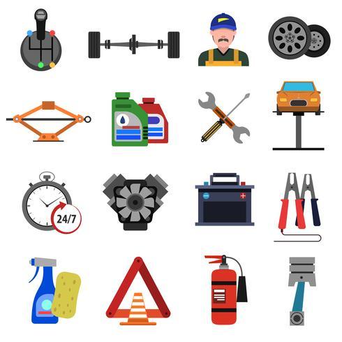 Auto Service pictogrammen platte Set