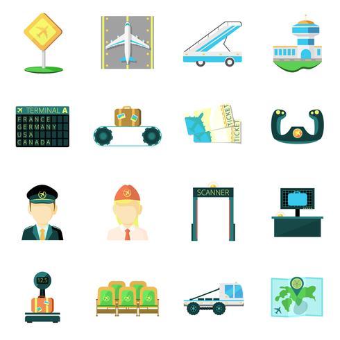 Flygplats platt ikoner uppsättning