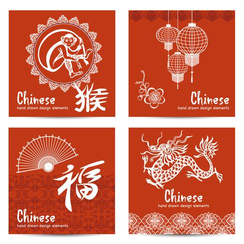 Chinesische Karten eingestellt vektor