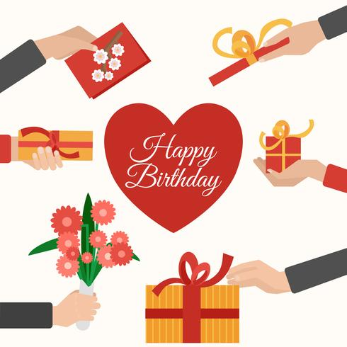 Presents holding hands flat pictograms composition vector