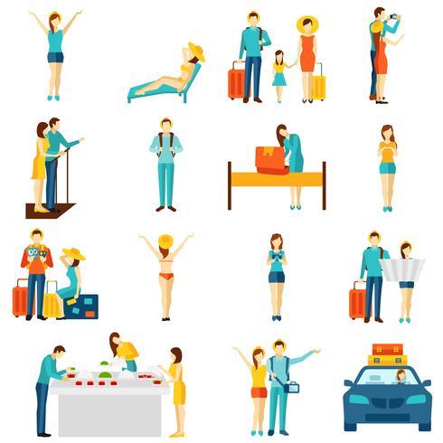 Tourisme international voyageant ensemble d'icônes plat