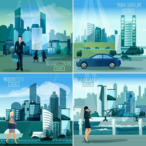 Moderne stadsgezichten 4 plat pictogrammenvierkant