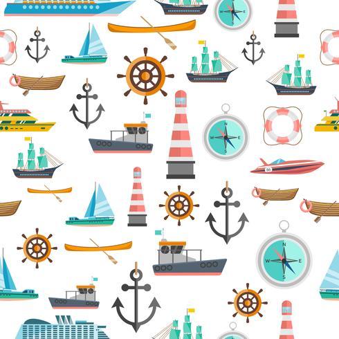 Nautical symbols vintage seamless pattern  vector