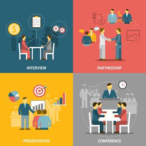 Reunión de negocios iconos planos de composición