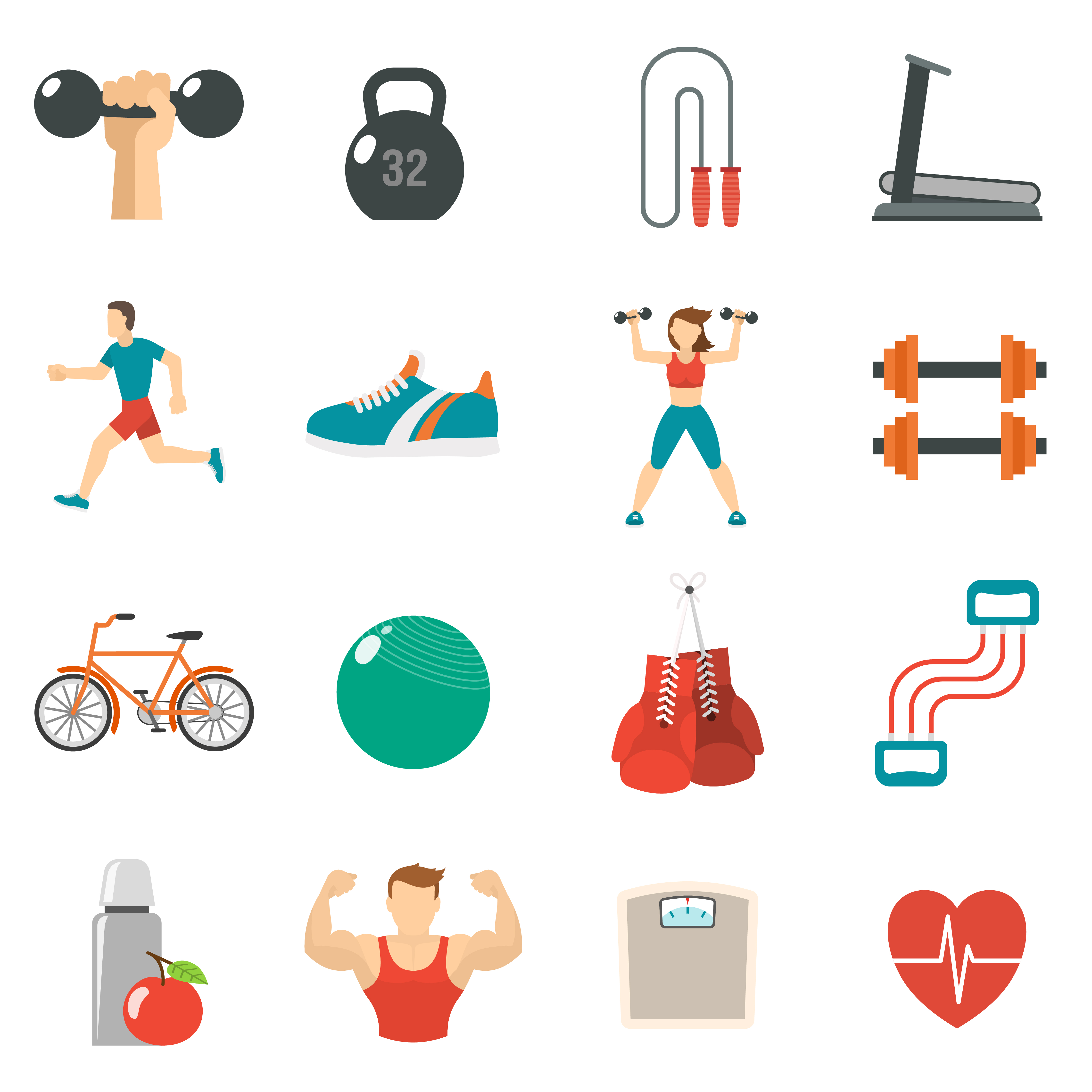 Flat Code Logo Collection: Fitness Icon Flat Set 468698 Vector Art At Vecteezy