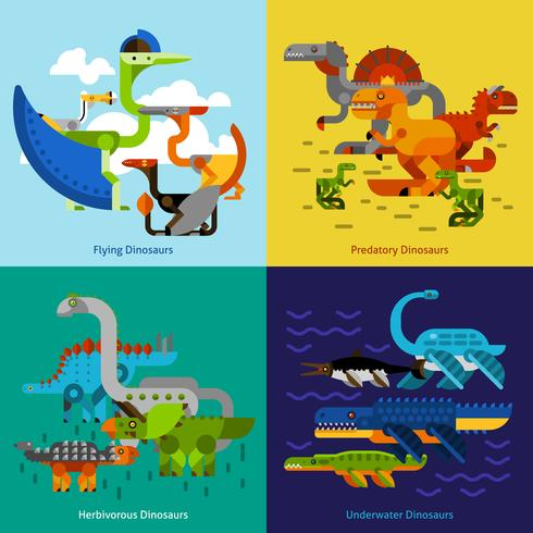 Dinosaur Icons Set vector