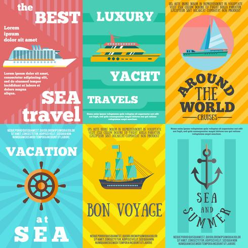 Cruise travel 6 flat icons composition