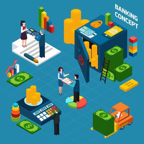 Insieme di concetto di design isometrica bancario