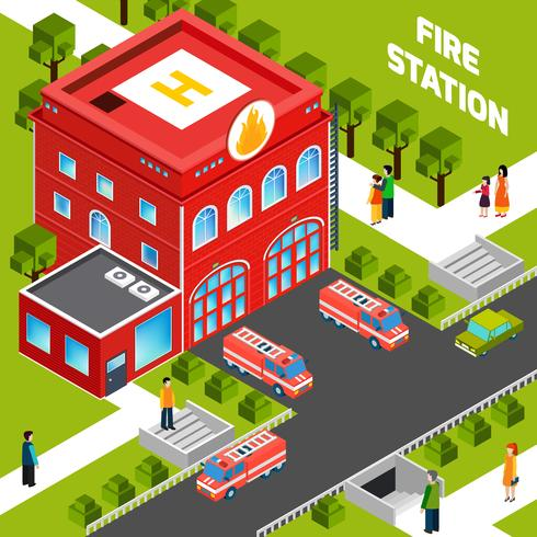Brandweerkazerne Gebouw Isometrische Concept