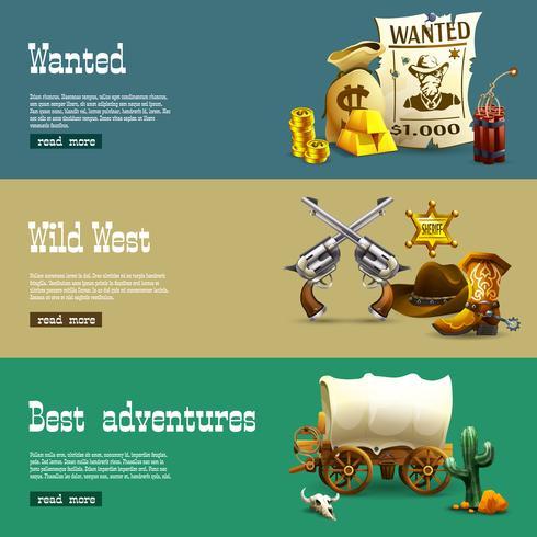Conjunto de Banners de Wild West vector