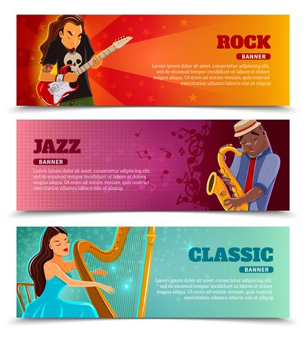 Music performance flat banners set vector