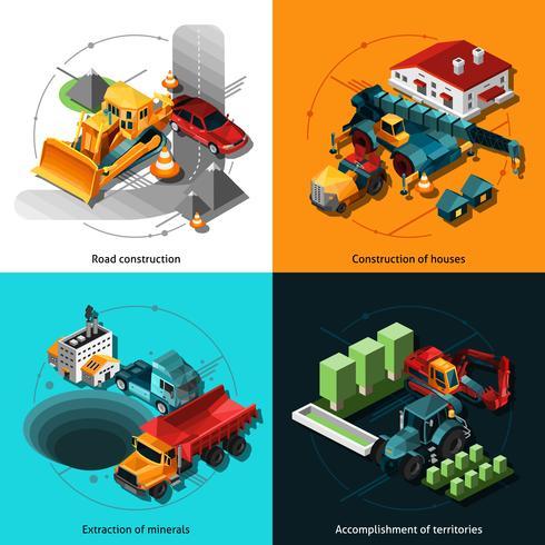 Macchine da costruzione isometriche vettore