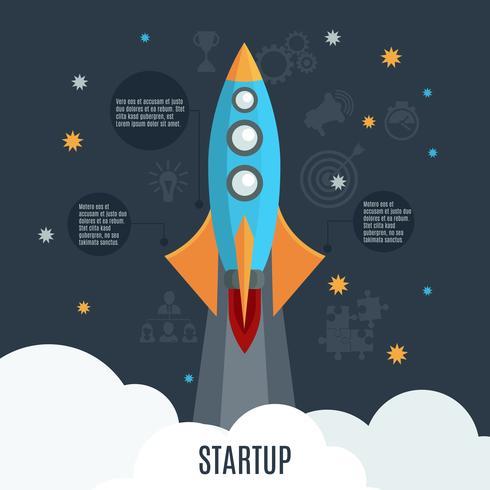 Póster plano de lanzamiento de cohete de inicio de negocios vector