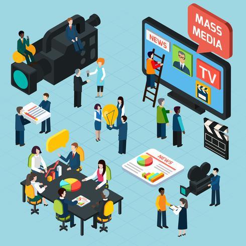 Mass Media Isometric Concept vector