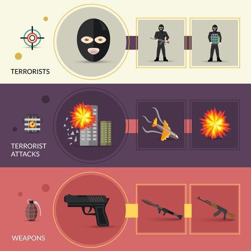 Conjunto de Banners de Terrorismo vector