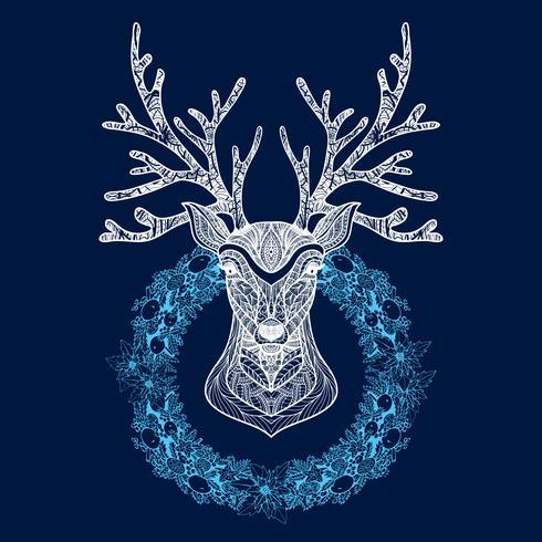 Corona di Natale con testa di cervo