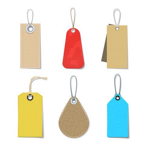 Etiquetas de colores y conjunto de etiquetas
