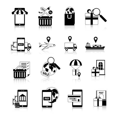 Conjunto de ícones de preto branco M-commerce vetor