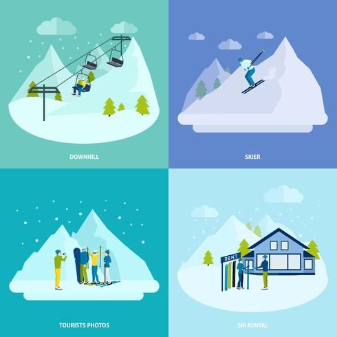Winter Active Rest In Mountains Design Concept Set