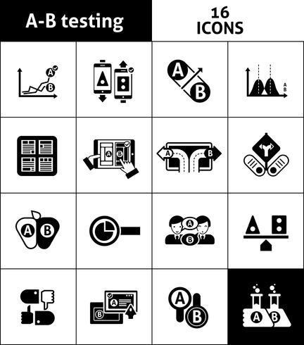 Ab testen pictogrammen zwart