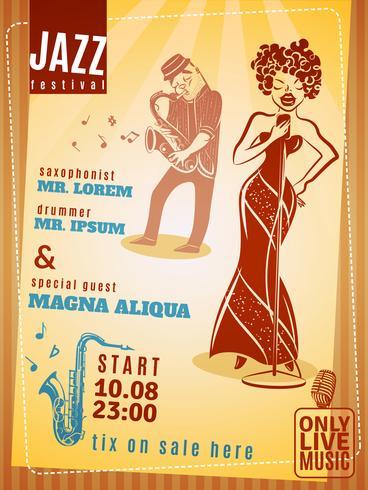 Jazz musikfestival vintageaffisch