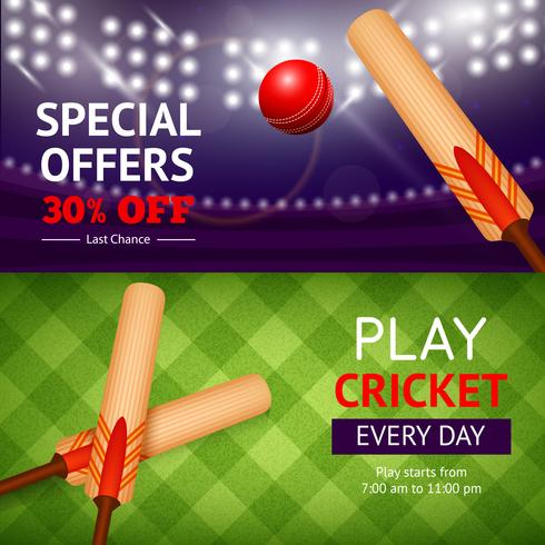 Cricket Banner Set vector