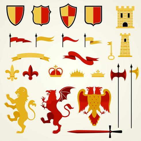 Heraldic Elements Set vector