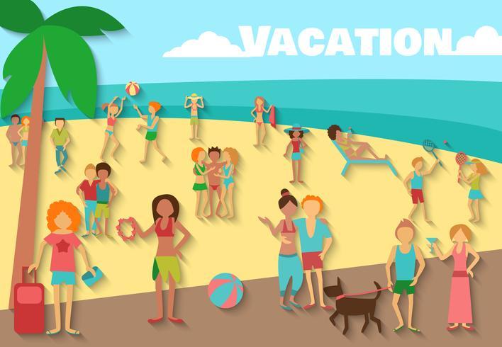 Pessoas no fundo da praia
