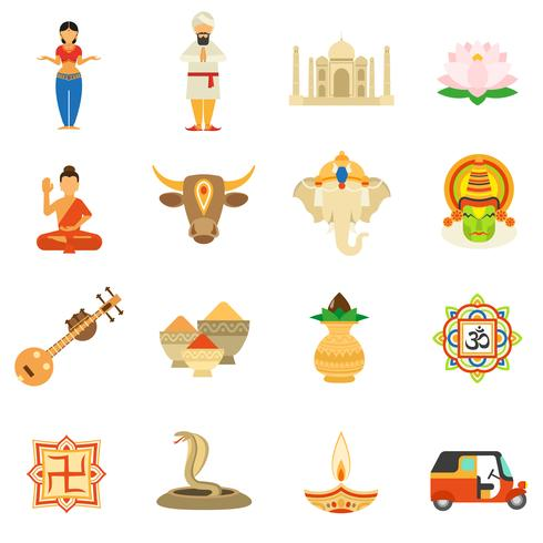 India iconen vlakke set