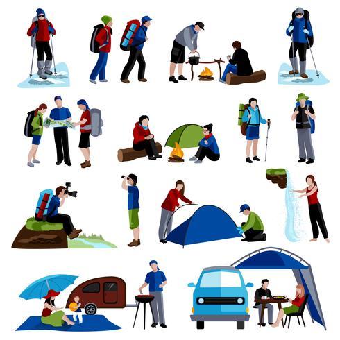 Set di icone di campeggio vettore