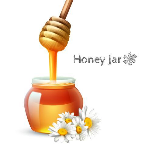 Bâton de miel et pot