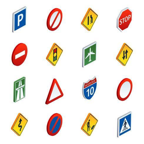 Vägtrafikskyltar isometriska ikoner