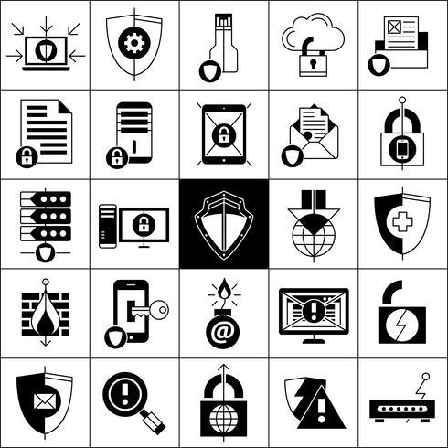 Ensemble d'icônes de protection des données vecteur
