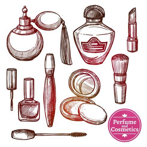 Ensemble de cosmétiques dessiné à la main
