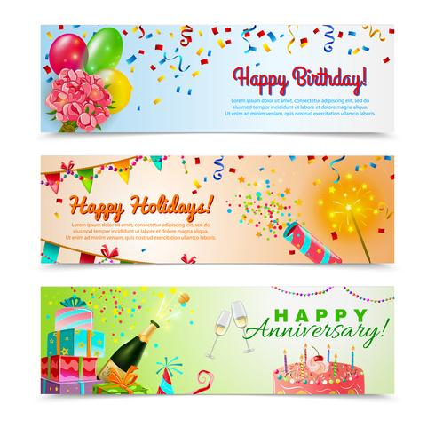 Happy birthday anniversary celebration banners set vector
